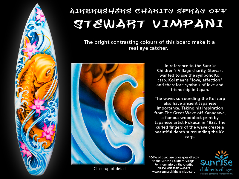 Stuart Vimpani paints a surfboard to help orphaned children